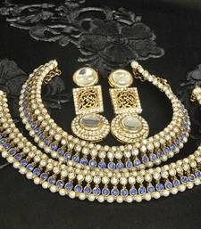 Buy Gold Plated Handcrafted White colour Earrings & Blue colour Anklets with Pearl jewellery-combo online