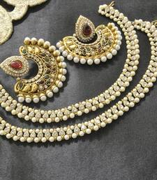 Buy Bollywood Maroon & Green Colour Earrings with White colour & pearl Anklets jewellery-combo online