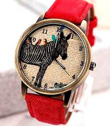 Buy Peppy Red Denim Watch watch online