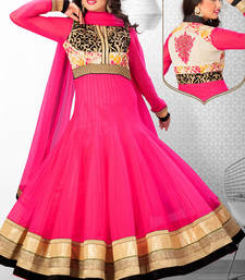 Buy Multi colour net anarkali with standing collar & high v neck - SL2677 evening-wear-dress online
