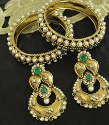 Buy Long Green colour Earrings & Gold Plated 4pcs Pearl Bangles bangles-and-bracelet online