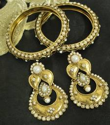 Buy Long Pearl Earrings & Gold Plated Kada with Pearl bangles-and-bracelet online