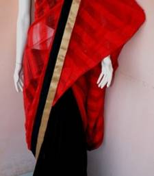 Buy Black and red woven saree jute-saree online