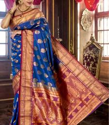 Buy Royal blue pure silk zari weaved saree in purple pallu -SR5789 silk-saree online