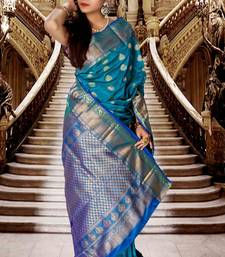 Buy Blue pure silk zari weaved saree with royal blue pallu-SR5791 silk-saree online