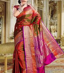 Buy Reddish green pure silk zari weaved saree with multi colour border-SR5792 silk-saree online