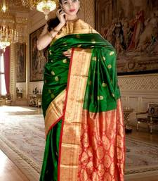 Buy Bright green pure silk zari weaved saree with red pallu -SR5793 silk-saree online