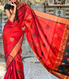 Buy Multi colour pure silk zari weaved saree in golden border -SR5818 silk-saree online