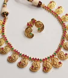 Buy BEAUTIFUL PRECIOUS RUBY EMERALD MANGO LAKSHMI NECKLACE SET necklace-set online