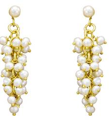 Buy UNIQUE HANDMADE REAL PEARLS BAALI/EARRINGS/HANGINGS FROM HYDERABAD (GRAPES) - PCE1003 jhumka online