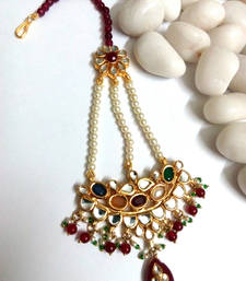 Buy kundan maang tikka with ruby and pearl maang-tikka online