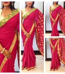 Buy Pink crepe Saree crepe-saree online