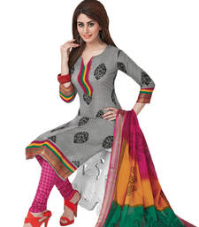 Buy Grey & Pink Cotton unstitched churidar kameez with dupatta dress-material online