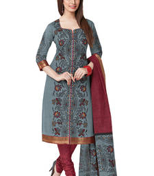 Buy Grey & Maroon Cotton unstitched churidar kameez with dupatta dress-material online