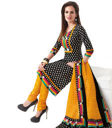 Buy Black & Yellow Cotton unstitched churidar kameez with dupatta dress-material online