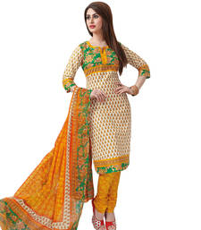 Buy Off  White & Yellow Cotton unstitched churidar kameez with dupatta dress-material online