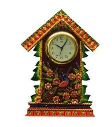 Buy Papier-Mache Wall Clock Floral Hut Design wall-clock online