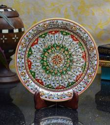 Buy Green and Red Floral Decorative Marble Plate with Wooden Stand decorative-plate online