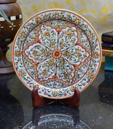 Buy Marble Decorative Plate with Flower Petal Design on Wooden Stand decorative-plate online