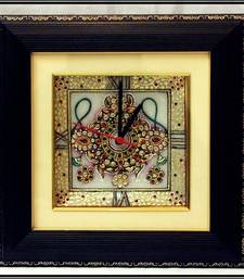 Buy Designer Jewelled Wall Clock with LED and Wooden Frame wall-clock online