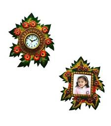 Buy Combo of Papier-Mache Wall Clock and Photo Frame photo-frame online