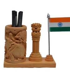 Buy Wooden Pen Stand with Ashoka Pillar and National Flag engineers-day-gift online