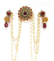 Buy floral design ruby emerald cz gold plated bun pin earring hair-accessory online
