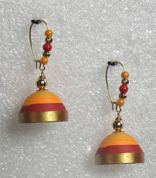 Buy Orange with red hanging quilled jhumkas jhumka online