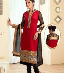 Buy Red pure silk chudidar with designer back neck & standing collar evening-wear-dress online