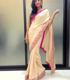 Buy Beige crepe saree crepe-saree online