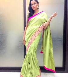 Buy Pista Green saree crepe-saree online