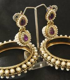 Buy Amazing Pearl studded & Purple colour Dangling Earrings with Traditional Pearl Bangles set bangles-and-bracelet online