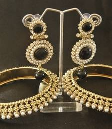Buy Beautiful Black colour Dangler with Traditional Pearl Bangle set bangles-and-bracelet online