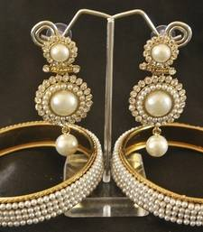 Buy Beautiful White colour Dangler with Traditional Pearl Bangle set bangles-and-bracelet online