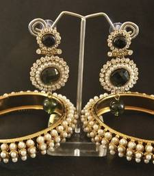 Buy Beautiful Green colour Dangler with Traditional Pearl Bangle set bangles-and-bracelet online