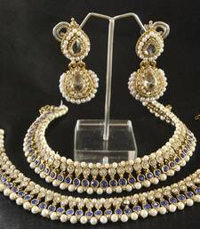 Buy Blue colour Pearl Anklets & White colour Earrings jewellery-combo online