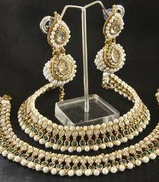 Buy Maroon & Green colour Pearl Anklets & White colour Earrings jewellery-combo online