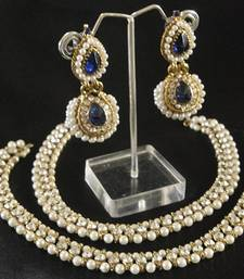 Buy White colour Pearl Anklets & Blue colour Pearl Earrings jewellery-combo online
