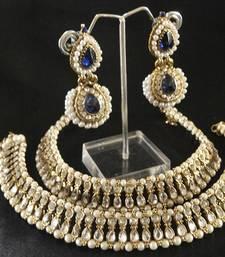Buy Kundan Anklets & Blue colour Pearl Earrings jewellery-combo online