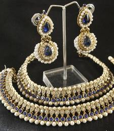 Buy Blue colour Pearl Anklets & Blue colour Pearl Earrings jewellery-combo online