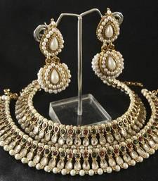 Buy Maroon & Green colour Kundan Pearl Anklets & Pearl Earrings jewellery-combo online
