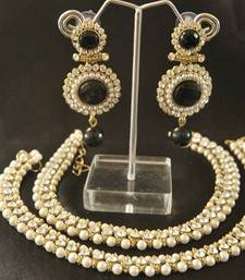 Buy Dangling Black colour Stone Earrings with Traditional Pearl Beaded Aklets jewellery-combo online
