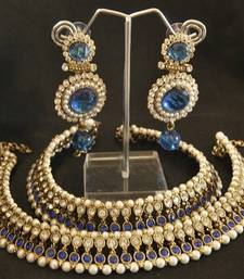 Buy Blue colour Anklets & Blue colour Pearl Earrings jewellery-combo online