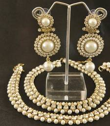 Buy Dangling Pearl Earrings with Traditional Pearl Beaded Aklets jewellery-combo online
