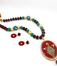 Buy Designer Crystal Pendant Necklace Design 5 necklace-set online