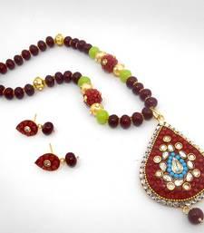 Buy Designer Crystal Pendant Necklace Design 24 necklace-set online