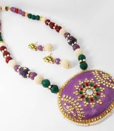Buy Exclusive Kundan Stone Pendant Neck Ear Set Design 1 necklace-set online