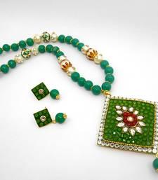 Buy Designer Crystal Pendant Necklace Design 17 necklace-set online