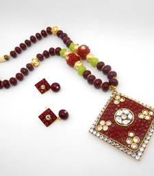 Buy Designer Crystal Pendant Necklace Design 23 necklace-set online
