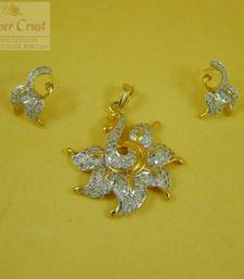 Buy Elegant Two Tone CZ pendent Earring Jewellery Pendant online